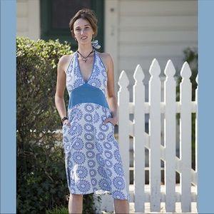 Circle Moody Floral Halter Dress Midi Pocket